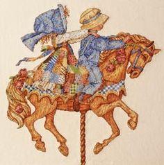 holly and robby niño y niña vestidos azul en caballo