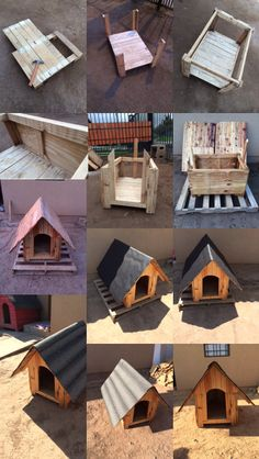 Casa Perro Wooden Cat House, Pallet Dog House, Dog House Plans, Feral Cat House, Diy Dog Crate, Cool Dog Houses, Diy Dog Bed, Wood Dog, Dog Rooms