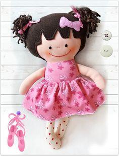 Handmade Cloth Doll Ballerina Rag Doll by Fairybugcreativetoys