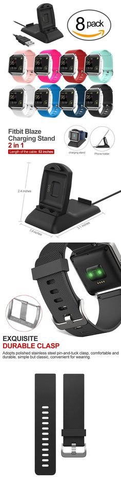 Fit Tech Parts and Accessories 179799: 8-Pack Colors Cascade Accessories Band For Fitbit Blaze Smart W Charger Stand -> BUY IT NOW ONLY: $36.35 on eBay!