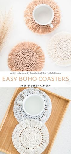 Easy Boho Coasters Free Crochet Pattern Those flowers will look jus. Crochet Gifts, Cute Crochet, Crochet Top, Beautiful Crochet, Easy Knitting Projects, Crochet Projects, Suncatcher, Crochet Home Decor, Crochet Fashion