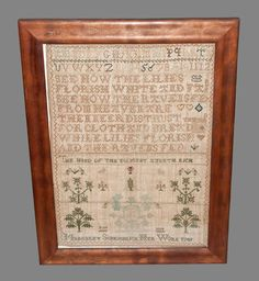 English Quaker Needlework Sampler, Signed and Dated Margaret Scarisbrick / 1789, with two rows of letters and numerals above the poem SEE HOW THE LILIES / FLORISH WHITE AND FAIR / SEE HOW THE RAVENS FED / FROM HEAVEN ARE / THEN NEER DISTRUST THY GOD / FOR CLOTH AND BREAD / WHILE LILIES FLOURISH AND THE RAVENS FED.