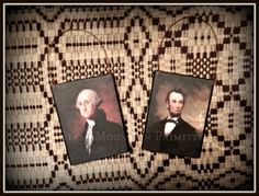 Abe Lincoln and George Washington Ornies  www.starrmountainprimitives.com  https://www.facebook.com/StarrMountainPrimitives#!/pages/Starr-Mountain-Primitives/228548684018