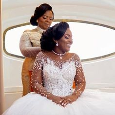 Image may contain: 2 people, wedding Crystal Wedding Dresses, Plus Size Wedding Gowns, Elegant Wedding Dress, White Wedding Dresses, Bridal Dresses, Bridesmaid Dresses, African Wedding Dress, Bride Gowns, African Fashion Dresses