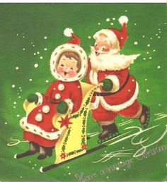 How adorable is this Santa and Mrs Claus. Nothing like a vintage Christmas image. No watermark on card. Vintage Christmas Images, Retro Christmas, Vintage Holiday, Christmas Pictures, Christmas Decor, Christmas Graphics, Christmas Clipart, Christmas Greetings, Old Time Christmas
