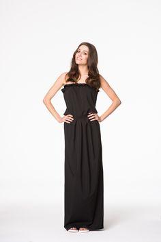 Czarna sukienka maxi Prom Dresses, Formal Dresses, Twiggy, One Shoulder, Fashion, Dresses For Formal, Moda, Formal Gowns, Fashion Styles