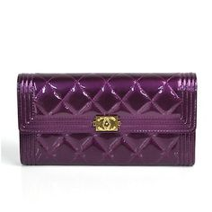 8ed0b5d3f36c BrandValue: Chanel CHANEL long wallet boy Chanel matelasse metallic purple  patent leather Lady's - Purchase now to accumulate reedemable points!