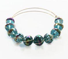 Titanium Luster Wire Bracelet Aqua Blue Glass Beaded Bracelet Expandable Wire Bangle Crystal Glass Stacking Bracelet (MBX172) by JulemiJewelry on Etsy