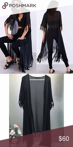 For Love and Lemons Chi Chi Kimono A luxe For Love & Lemons kimono, trimmed with delicate embroidery. Fringed tassels detail the edges. Open placket. Semi-sheer. For Love and Lemons Jackets & Coats