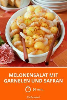 Melonensalat mit Garnelen und Safran