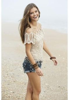 COLD SHOULDER CROCHET TOP - $19.90