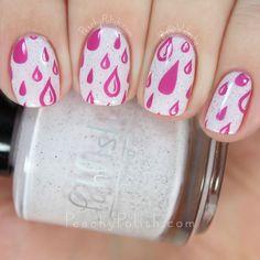 Pink Raindrop Stamping | Peachy Polish