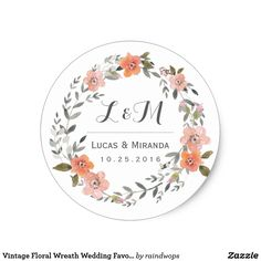 Vintage Floral Wreath Wedding Favor Sticker