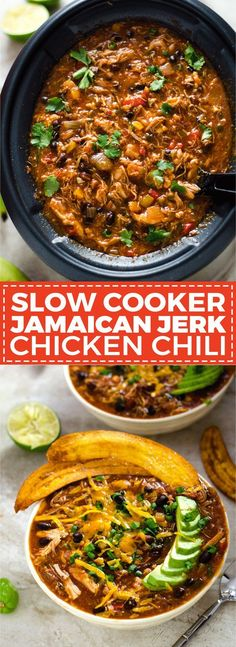 Slow Cooker Jamaican Jerk Chicken Chili with Plantain Chips. This set-it-and-for. Slow Cooker Jamaican Jerk Chicken Chili with Plantain Chips. This set-it-and Chili Recipes, Slow Cooker Recipes, Soup Recipes, Chicken Recipes, Dinner Recipes, Cooking Recipes, Healthy Recipes, Salads, Gastronomia