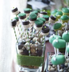 Marshmallow pops at a Creepy Crawly Birthday Party!  See more party ideas at CatchMyParty.com!