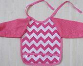 Long Sleeve Laminated Cotton baby bib (using Pink Chevron by Riley Blake Laminates)