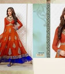 Buy Awesome Esha Gupta Designer Orange shaded anarkali dress anarkali-salwar-kameez online