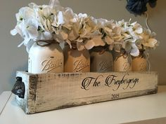 This is a perfect way to welcome someone into your neighborhood or to give as a gift (OR buy something for YOURSELF FOR ONCE)!!! I can hand stencil ANY name youd like. I love doing custom orders so please message me for specific requests. Package includes: (1) planter box (2) installed handles (5) mason jars (5) flowers (1) HAND PAINTED stencil-write in the notes of the order exactly what youd like including location of wording on box please i can change up the box color along with jar c...