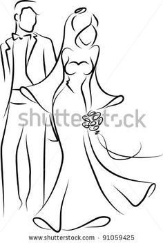 stock vector : Silhouette of  bride and groom, background, wedding invitation, the vector