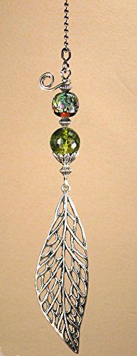 Large 6 inch long silvery cut-out leaf with green glass ceiling fan pull chain