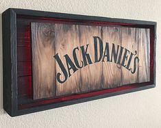 Rustic JACK DANIELS Modern Neon sign Hand Made -Hand Painted Rustic Whiskey signs. All materials are from reclaimed pallet wood Actual sign Offered in 2 different colors: Diy Rustic Decor, Rustic Design, Wood Design, Wooden Projects, Wood Crafts, Modelo Light, Pallet Picture Frames, Barrel Projects, Bottle Wall