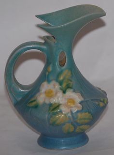 White Rose Antiques | Very pretty Roseville Pottery White Rose blue ewer. MINT CONDITION. No ...