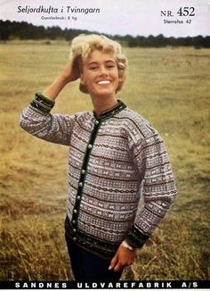 Lisbeths verden: Seljord-kofte i Finull. Med oppskrift ! Norwegian Style, Nordic Style, Embroidery Patterns, Knitting Patterns, Norwegian Knitting, Vintage Knitting, Norway, Men Sweater, Knit Sweaters