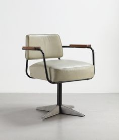 Jean Prouvé, No 353 swivelling office chair, c.1951 - From A Buyer's Guide to French Modernism http://midcenturymagazine.com/furniture-objects/prouve-and-the-french-modernists/