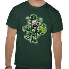 Get your GREEN on!  20% OFF with this code-PATSHIRTSALE   Zombie Leprechaun T Shirts from Saytoons.com