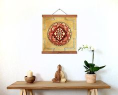 Sri Yantra print on organic linen with magnetic holders Sri