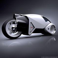 Vintage Light Cycle design illustration by Daniel Simon for Tron Legacy / Disney Studios. 3D model Daniel Simon.  © DISNEY