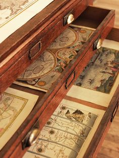 Every British Colonial home needs a cabinet with map drawers.I Love Old Maps! Old Maps, Antique Maps, Vintage Maps, Vintage Suitcases, Antique Books, Vintage Decor, West Indies Style, British West Indies, Objets Antiques