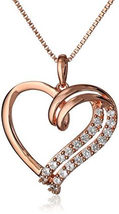 """Sterling Silver with Rose-Gold Plating Created White Sapphire Heart Pendant Necklace, 18"""" Amazon Curated Collection"""