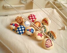 Fabric Buttons - Out To Sea With Little Sailors - 12 Small Fabric Covered Buttons - Red, Blue, Yellow and White Wheel, Seashell, Flags