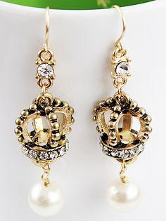 Pendientes corona cristales y perla EUR€6.74
