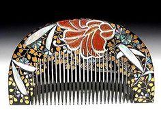 Edo Japanese Geisha Kushi Comb Kanzashi Lacquer Makie Hair Kinpaku Urushi Set 84 | eBay