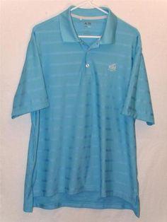 Mens Adidas L Large Golf Polo Blue Tshirt Shirt Tee Athletic Running Clima Cool