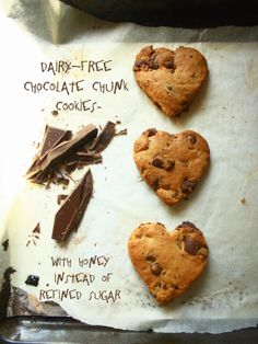 Dairy-free chocolate chunk cookies with honey instead of refined sugar