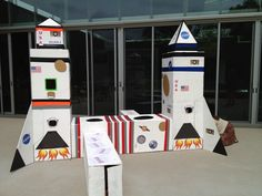 Todd created a crawl through rocket tunnel system from used shipping boxes for a birthday party.  The kids LOVED it.