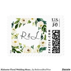 Alabaster Floral Wedding Monogram Postage Finish your invitation envelopes with these elegant botanical wedding postage stamps featuring your initials encircled by lush watercolor green foliage and white rose and peony flowers. Coordinates with our Alabaster floral wedding collection.