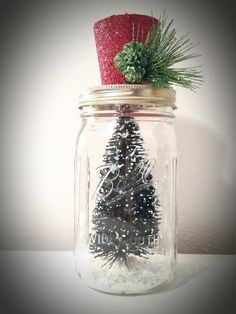 Items similar to Christmas Tree Top Hat Mason Jar Decor on Etsy Christmas Tree Tops, Christmas Mason Jars, Hat, Awesome, Unique Jewelry, Handmade Gifts, Vintage, Etsy, Decor