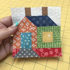 One cute little Cozy Cottage:).pattern and step by step instructions are in my new 2016 Cozy Cottage Calendar ❤️ These scrappy happy little cottages are fun and also addicting to make! House Quilt Patterns, House Quilt Block, Quilt Block Patterns, Pattern Blocks, Quilt Blocks, Scrappy Quilts, Mini Quilts, Patchwork Quilting, Quilting Tutorials