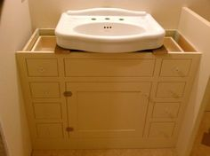 Pedistal Sink Cabinet | Custom Made Bath Cabinet For Pedestal Sink By  Artisan Woodcraft, Inc