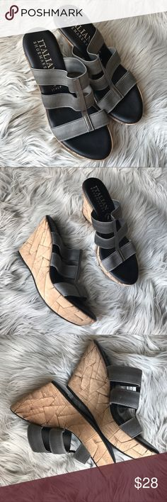 """Italian Shoemaker Grey Metallic Wedges Excellent conditions. Elastic straps. 4.5"""" Back wedge. 1.25"""" from wedge. Narrow feet Italian Shoemaker  Shoes Wedges"""