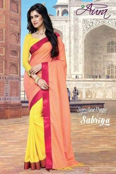 Peach and Yellow Color Cotton Sarees for Occasions : Essence Collection Yellow Saree, New Catalogue, Yellow Fashion, Cotton Saree, Happy Shopping, Blouse Designs, Cool Designs, Peach, Sari