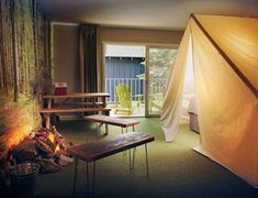 Kids will go nuts for this hip, affordable, inn-like spot in South Lake Tahoe, and for good reason: You'll find forest wallpaper, fake campfires, tented be