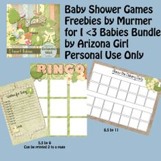 Free Baby shower game printables. Murmer Scraps: I Heart Babies by Arizona Girl