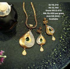 Peridot Earrings, Pendant Earrings, Pendant Jewelry, Gold Jewelry, Jewelery, Indian Jewellery Design, Jewelry Design, Simple Necklace, Gold Necklace