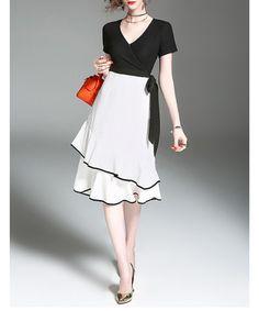 White & black ruffle V-neck dress Sale - ALAROO Sale