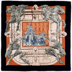 A Rare Hermes Scarf 'La Fontaine de Bartholdi - Washington DC' by Rybaltchenko   | From a collection of rare vintage scarves at https://www.1stdibs.com/fashion/accessories/scarves/